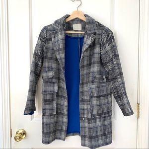 Zara Girls Gray Checkered Coat